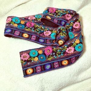 Johnny Was Embroidered canvas belt  Black flowers